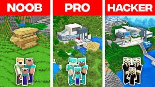 Minecraft NOOB vs PRO vs HACKER: FAMILY MODERN HOUSE BUILD CHALLENGE in Minecraft (Animation)