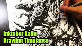 Pacific Rim 2 Uprising Kaiju Inktober Drawing Timelapse