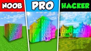 Minecraft NOOB vs PRO vs HACKER : RAINBOW HOUSE CHALLENGE in Minecraft Animation!