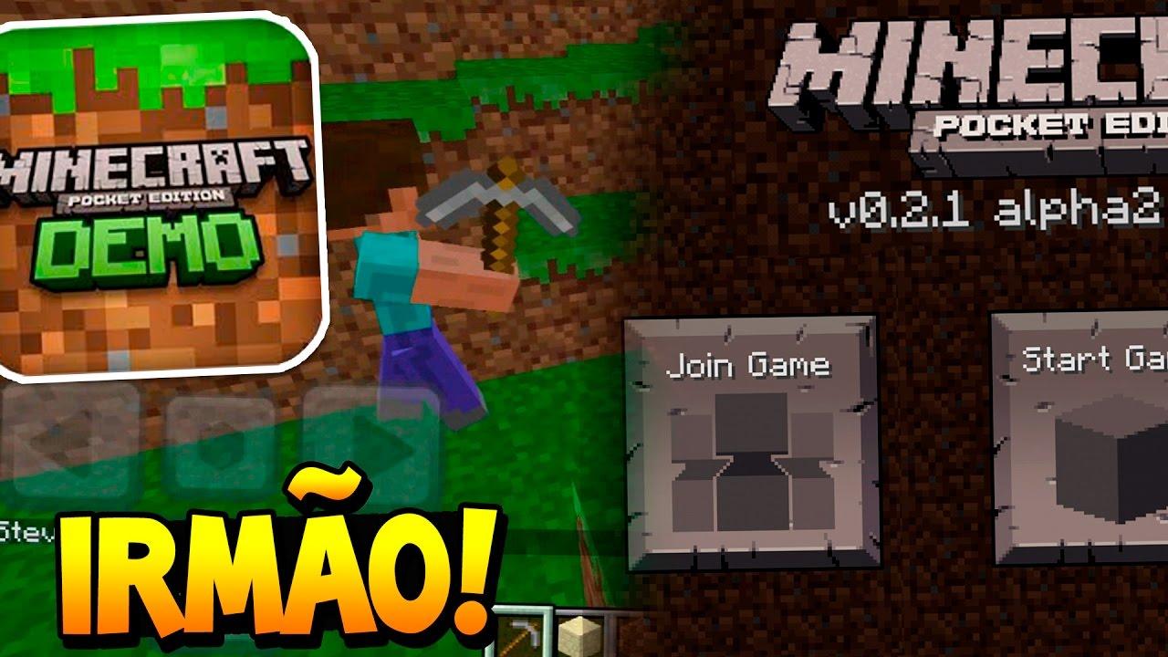 Jogando Minecraft PE DEMO 12122.122.12 ONLINE com meu IRMÃO!!