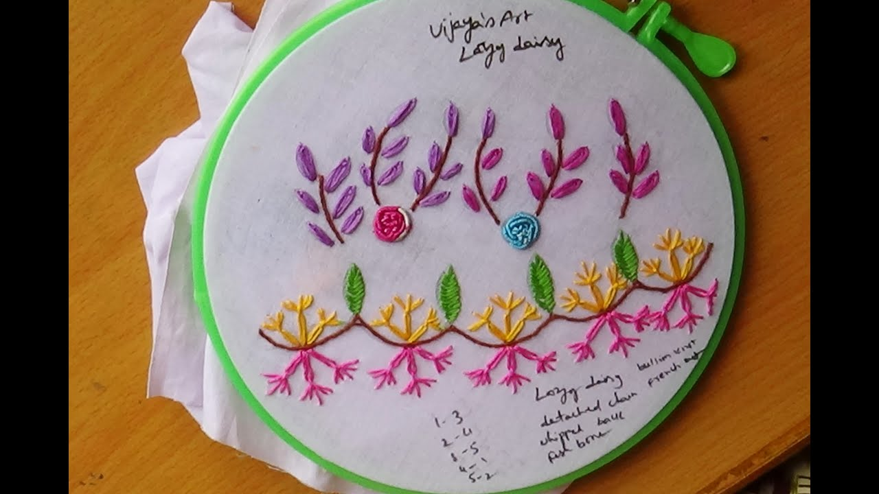 Hand Embroidery Designs # 123 - Lazy Daisy Design - YouTube