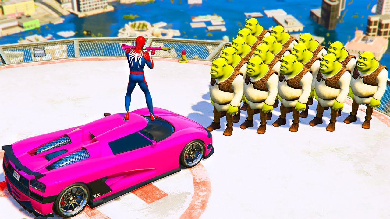 GTA 5 Crazy Ragdolls Red SPIDERMAN VS SHREK (Grand Theft Auto Euphoria Physics Fails Funny Moments)