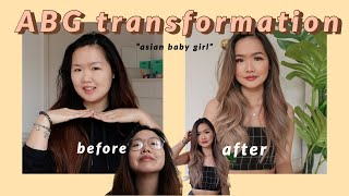 DRAMATIC ABG transformation (blonde balayage, coloured contacts, lash extensions etc)
