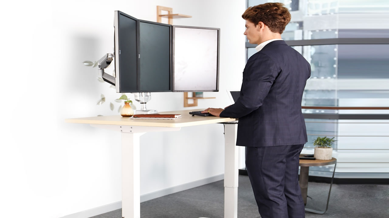 Electric Ergonomic Standing Office Desk Height Adjustable Youtube