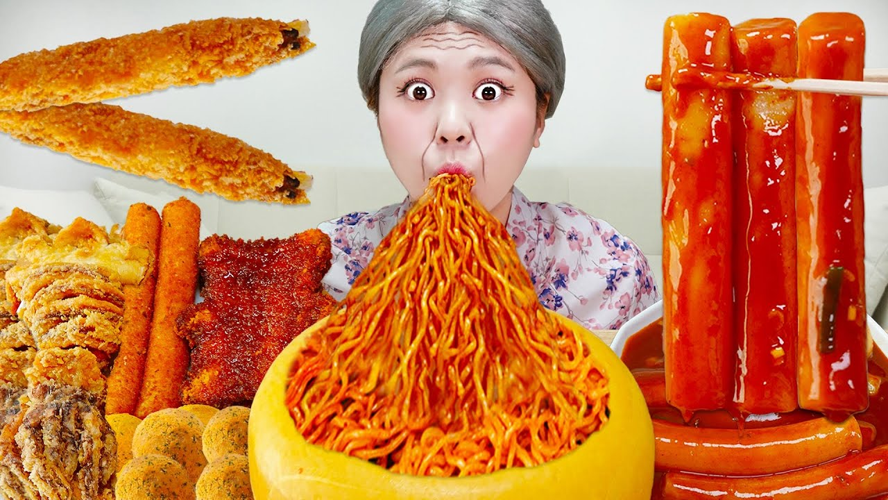 Download MUKBANG 하이유의 대왕 가래떡 떡볶이 불닭볶음면 대왕치즈 먹방! Giant CHEESE FIRE NOODLES AND Spicy Tteokbokki | HIU 하이유