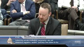 3/11/19 Ben Feist, ACLU Minnesota, testifies in support of SF 619