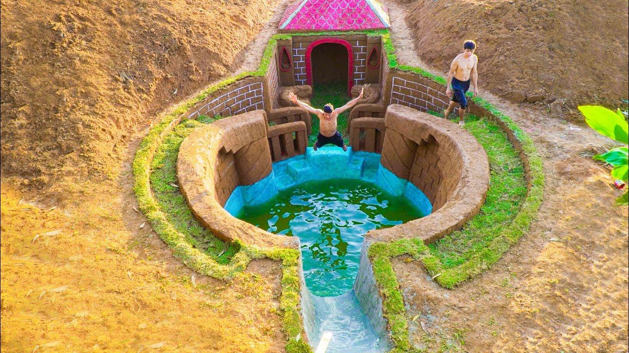 60 Days Of Build Swimming Pool Water Slide Around Secret Underground House