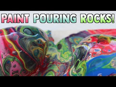 (#71) PAINT POURING ON ROCKS!! VERY EASY BEGINNER TUTORIAL thumbnail