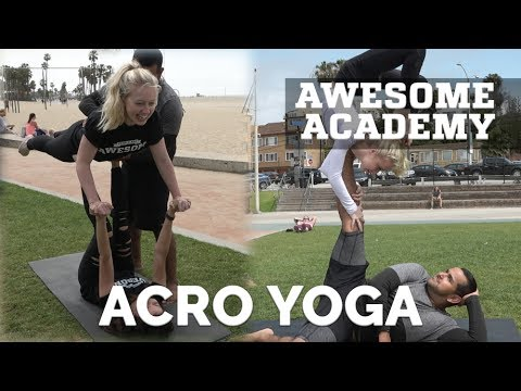 First Time Trying AcroYoga! | Awesome Academy