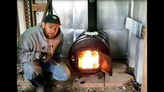 A cheap way to heat a barn! - Barrel Stove and Chimney Pipe