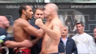 STEPHEN SIMMONS LEANS IN WITH HEAD, WADI CAMACHO SHOVES HIM BY THE THROAT @ AGGRESSIVE WEIGH IN