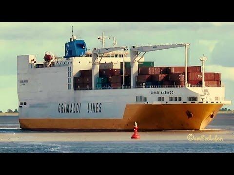 car & container carrier GRANDE AMBURGO IBMW IMO 9246607 Emden roro cargo seaship merchant vessel