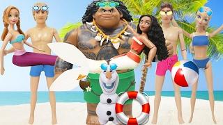 "Play Doh Mermaids  ""Moana"" & Anna I Maui Elsa Hans Kristoff Olaf ""Frozen"" Beachwear (2)"