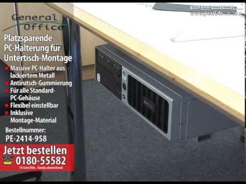 general office platzsparende pc halterung f r untertisch montage youtube. Black Bedroom Furniture Sets. Home Design Ideas