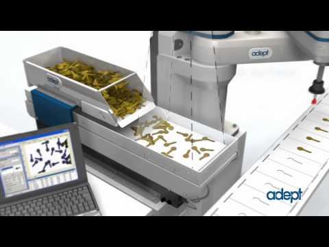 OMRON Adept Cobra i600 and AnyFeeder - Flexible Feeding