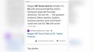 MF Doom's shock passing and the most likely cause of his death.