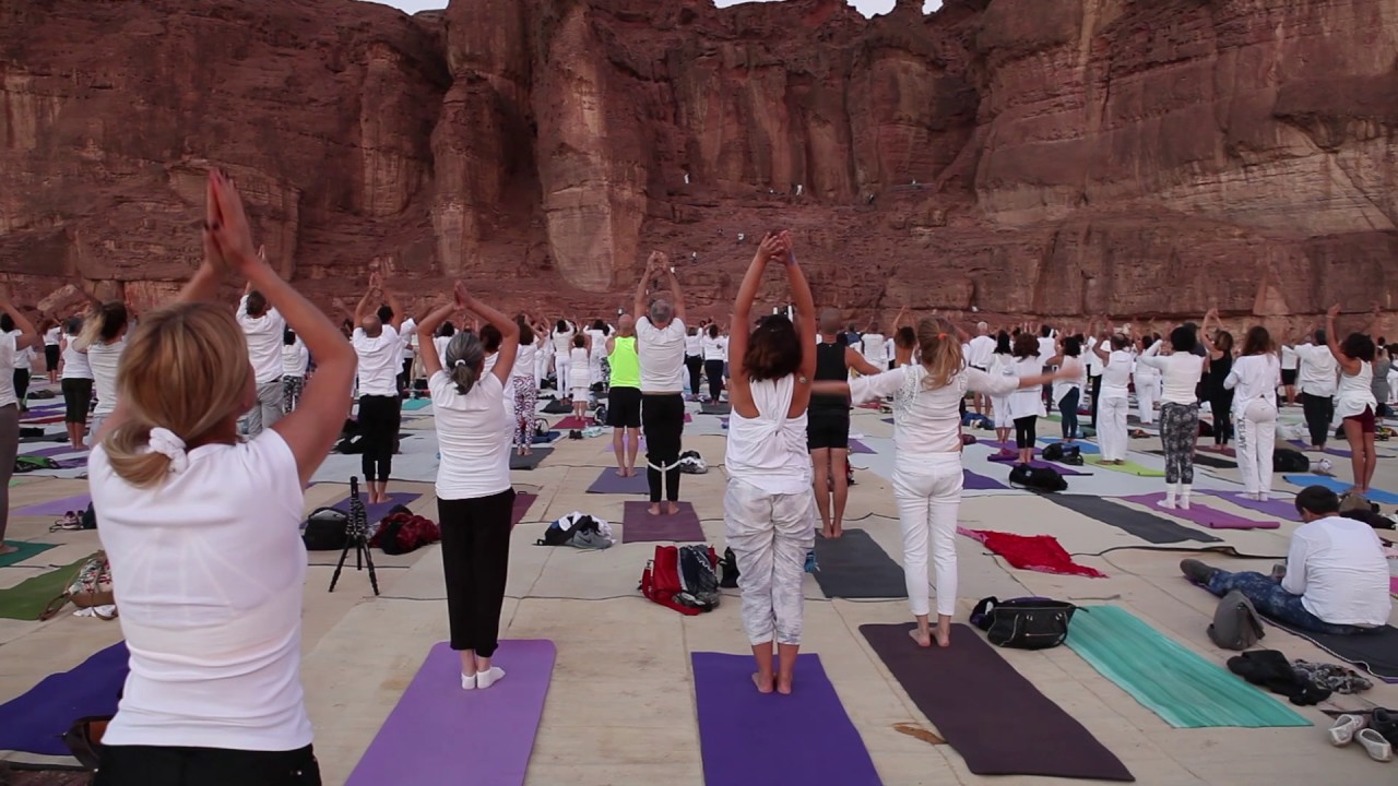 108 sun salutation in Yoga Arava Desert led by Divya Rolla and Yotam Agam