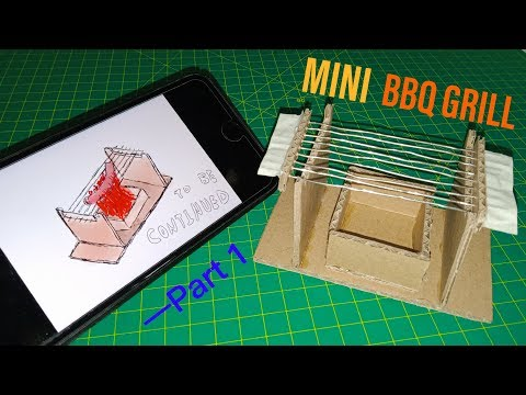 【DIY】mini BBQ grill from cardboard and paper clips | part 1