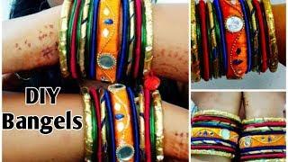 Navratri Jewellery , pompom, Bangels Making idea,Thread Bangles, Diy bangles , gota Bangel