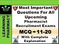 MCQ 11-20 | Most Important Questions For All Upcoming  Pharmacist  Recruitment Exams  | In Hindi