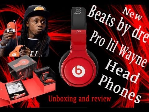 Beats by dre Red pro lil wayne drake headband headphones studio  fakeunboxing review real