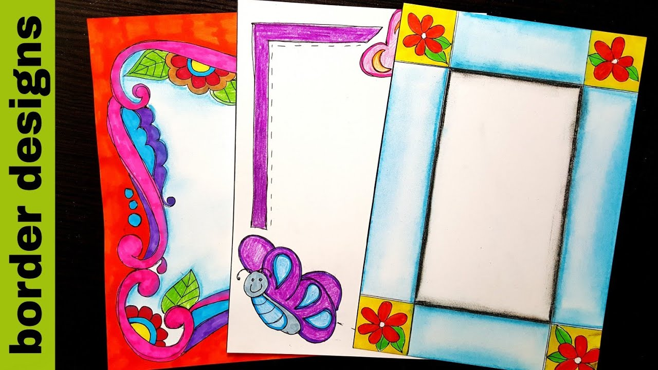 Floral Border Designs On Paper Border Designs Project Work Designs Borders For Projects Youtube