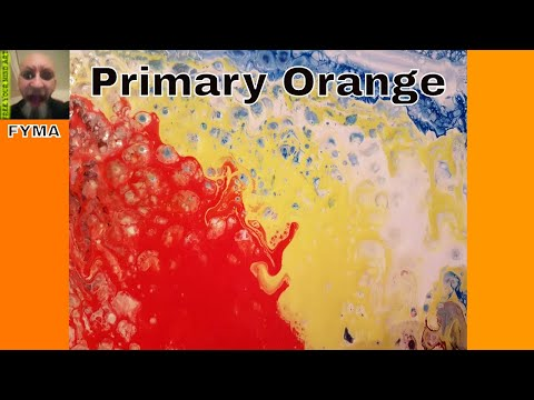 Fluid Painting with Acrylic paint 'Primary Orange' Free Your Mind Art