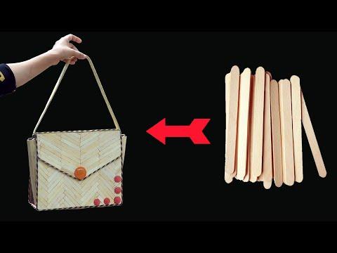 DIY Handbag Idea out of Popsicle sticks   MissDIY star