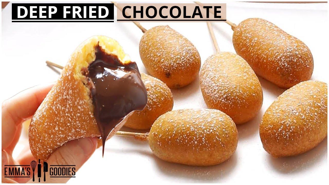 "Deep Fried CHOCOLATE ! *Donuts on a Stick*   Dessert ""corn dogs"""