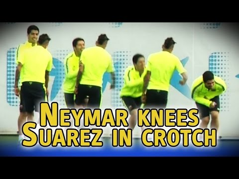 Neymar knees Luis Suarez in the crotch during Barcelona training session
