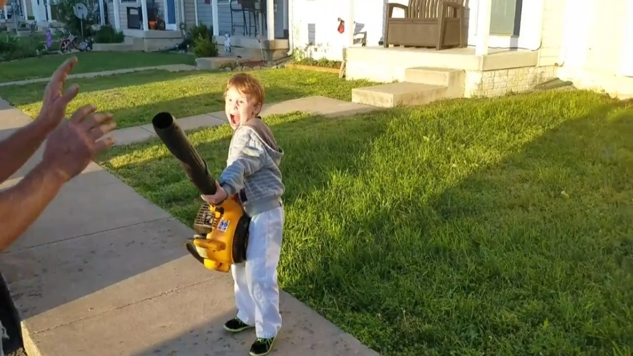 leaf blower kid youtube