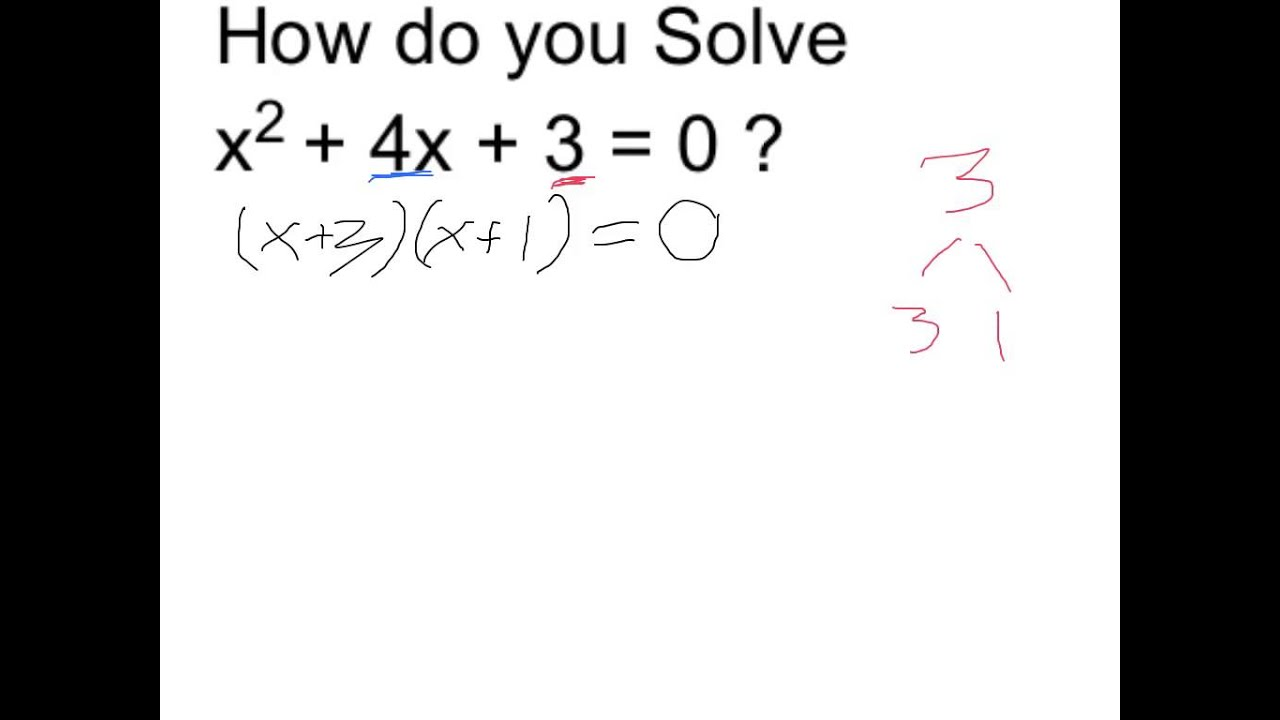 Solve X^2 + 4x + 3 = 0