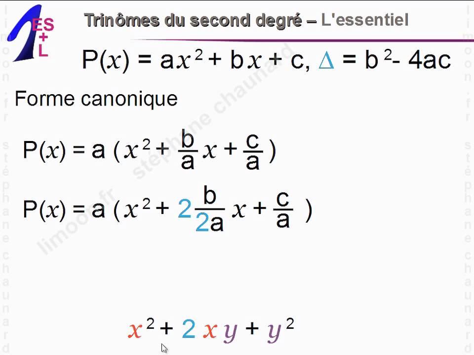 Maths 1ereES et 1èreL - Trinômes du second degré ...