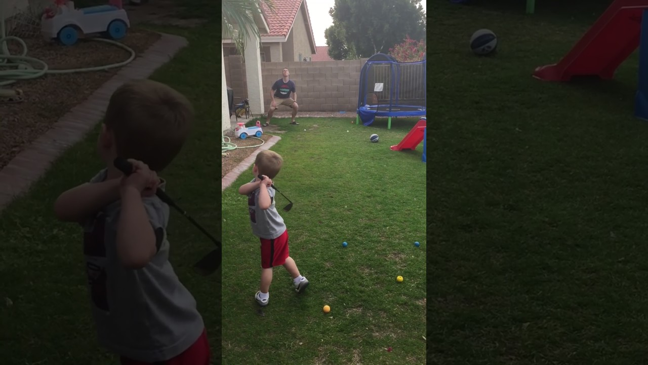 Kid Hits Golf Ball Into Guy's Mouth