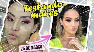 TESTANDO Maquiagens novas da 25 de março, Nova base RubyRose, Pinceis e mais!