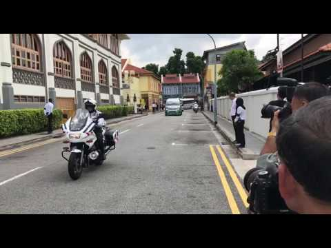 Hearse Carrying Mr Othman Wok's Casket Arrives At Sultan Mosque
