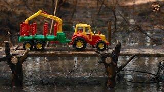 Мультик про машинки Трактор с прицепом лесовоз. МанкиМульт