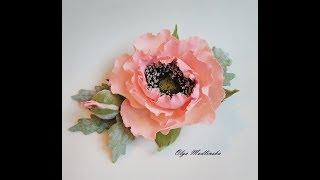 заколка с цветком мака из фоамирана