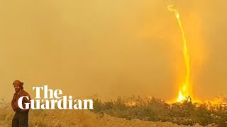 Firefighters' hose pulled into fire whirl in Canada