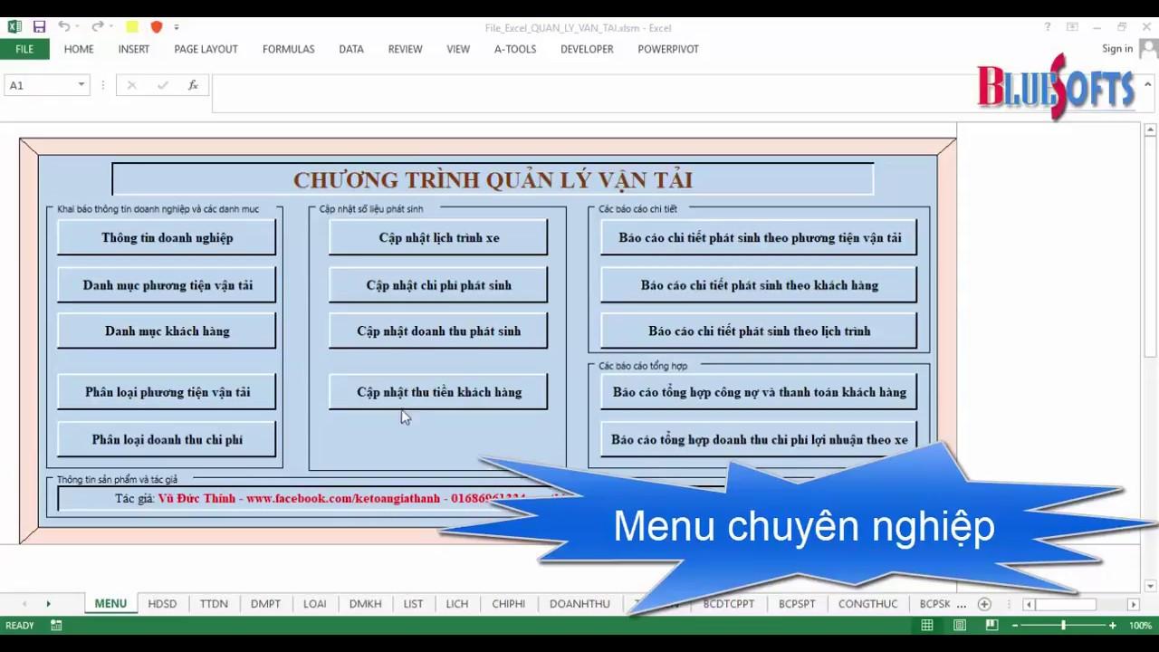 Quản lý vận tải bằng Excel tự động