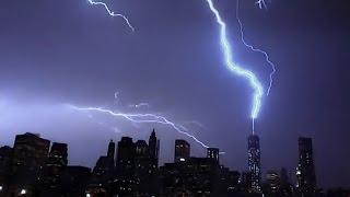 Lightning Strikes Freedom Tower 7-2-14  Slowed 800X