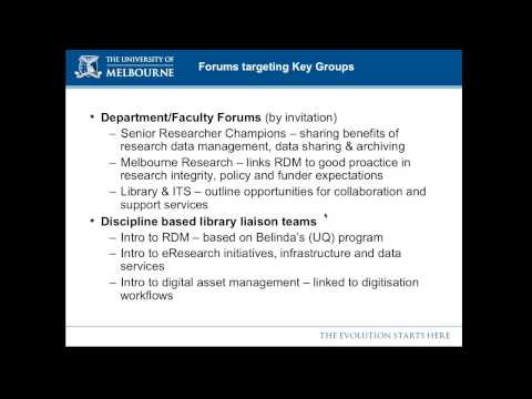 Data Management Training at Uni of Melbourne and Uni of Queensland