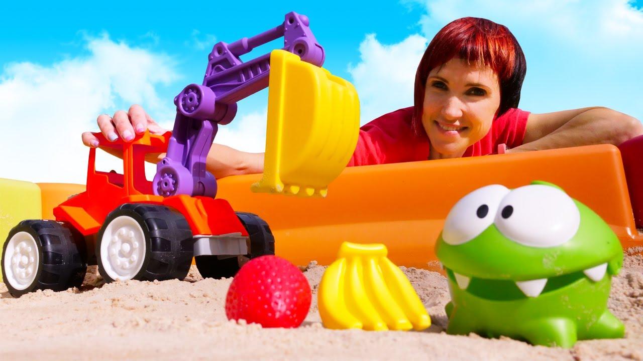 Развивающие видео для детей с машинками - Фрукты для Ам Няма - Маша Капуки и игры в песочнице