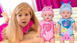 Diana and Baby Dolls behind the door