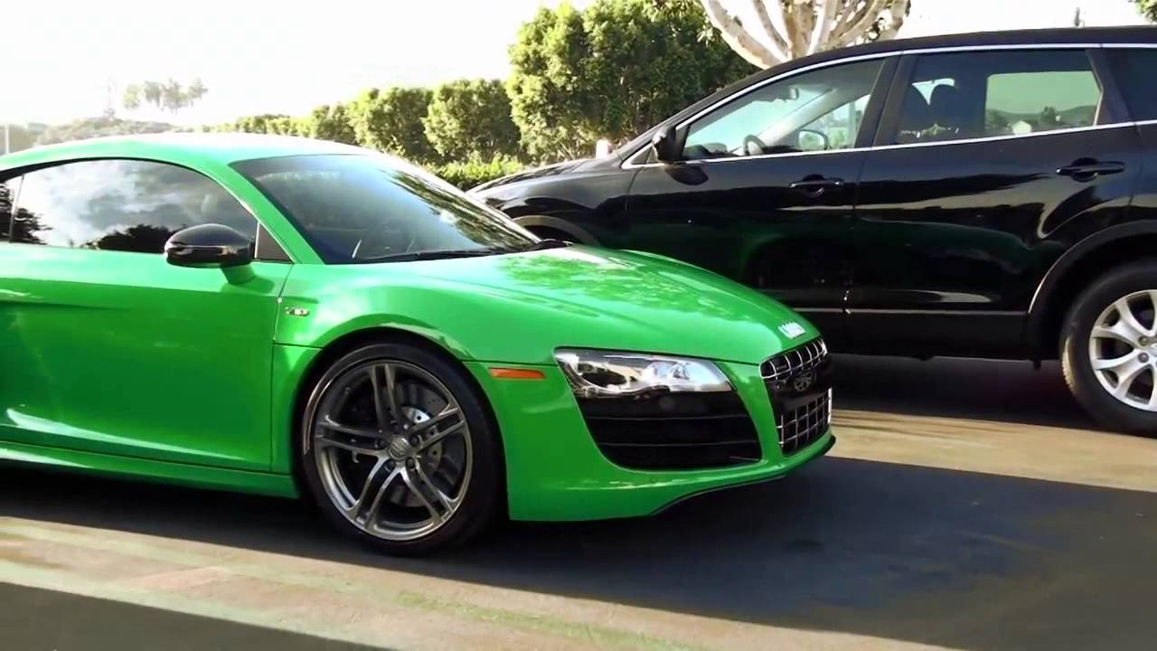 audi r8 green cars and coffee irvine sports car event youtube. Black Bedroom Furniture Sets. Home Design Ideas