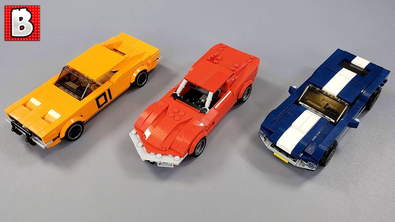 LEGO Mustang Charger and Corvette Custom Cars