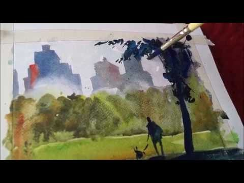 WATERCOLOR CITYSCAPE TUTORIAL | NEW YORK CITY | CENTRAL PARK NYC | HOW TO PAINT FOR BEGINNERS