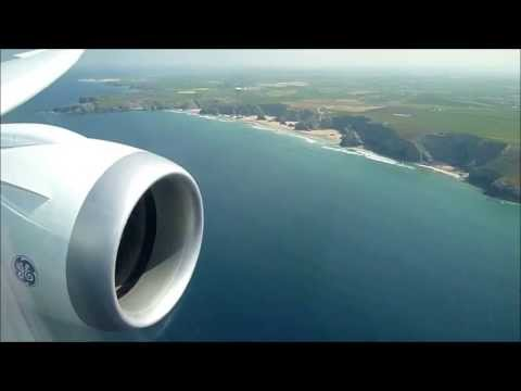 Thomson B787 overwing view! Takeoff from Manchester and view of Cornwall and landing at Newquay