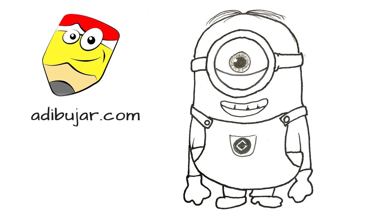 Cómo Dibujar Un Minion De Un Ojo Stuart A Lápiz Paso A Paso Youtube