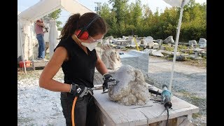 Carving Blue Alabaster Stone